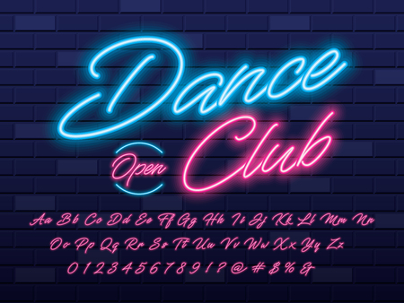 Glowing neon light alphabet design with dance club text