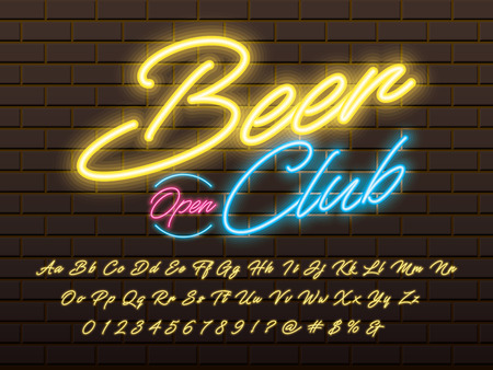 Glowing neon light alphabet design with beer club text
