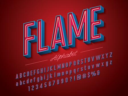 Neon light 3D alphabet design