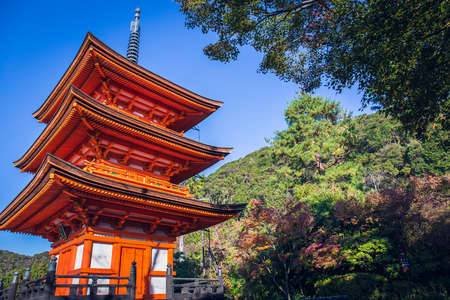 Kyoto, Japan - November 19, 2018: The beautiful red pagoda in the Kiyomizu dera Temple