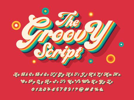 Une conception d'alphabet de style hippie groovy Vecteurs
