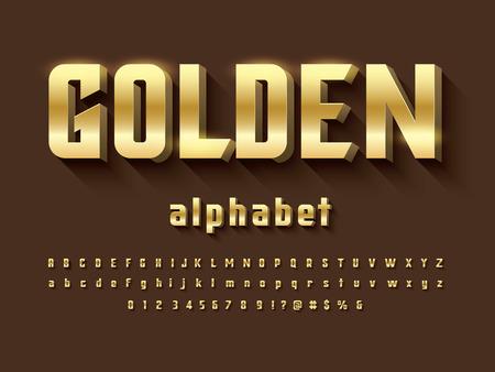 Vector of modern 3D bold gold alphabet design word golden
