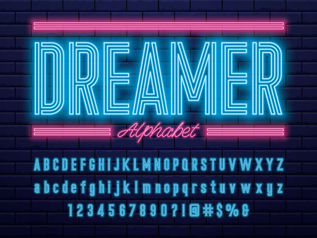 Glowing neon light alphabet design word dreamer