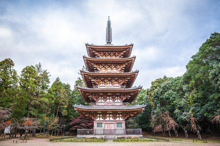 Kyoto, Japan - November 23, 2018: Daigoji is an important temple and a designated world heritage site. This is Goju-no-to (five-storey pagoda) that is Kyotos oldest verified building.