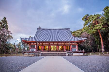 Kyoto, Japan - November 23, 2018: Kondo (Golden Hall) of Daigo-ji, a National Treasure of Japan