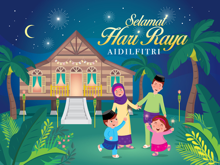 vector illustration with cute muslim family having fun with sparklers and traditional malay village house. Malay word selamat hari raya aidilfitri that translates to wishing you a joyous hari raya.