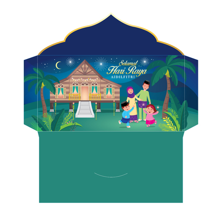 hari raya money packet with muslim family having fun with sparklers and traditional malay village house. Malay word selamat hari raya aidilfitri that translates to wishing you a joyous hari raya
