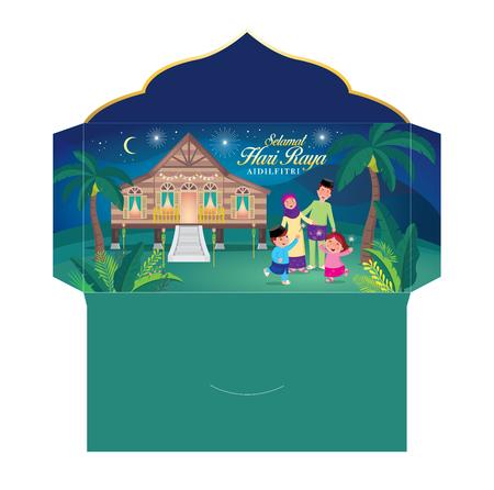 """Hari raya pacchetto di soldi con la famiglia musulmana che si diverte con le stelle filanti e la tradizionale casa del villaggio malese. Parola malese """"selamat hari raya aidilfitri"""" che si traduce in augurarti un gioioso hari raya"""