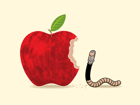 a human face worm chewing an apple