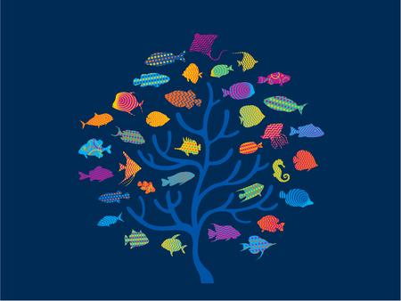 coral of colorful marine sea life