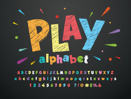 Bright colorful chalk board style alphabet design Illustration