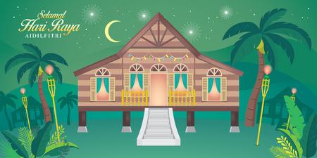 """tradizionale casa di villaggio malese. Parola malese """"selamat hari raya aidilfitri"""" che si traduce in augurarti un gioioso hari raya. Vettoriali"""