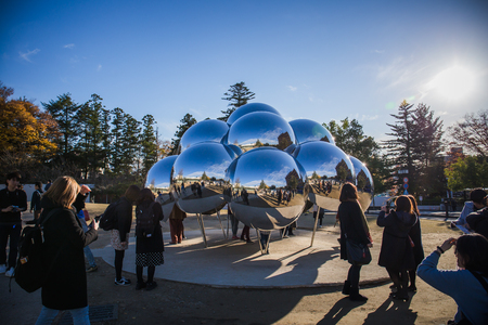 "Kanazawa, Japan - November 24, 2018: The Spherical Pavilion ""MARU"" designed by the museum's architects, Sejima Kazuyo + Nishizawa Ryue, and become a landmark at 21st Century Museum  報道画像"