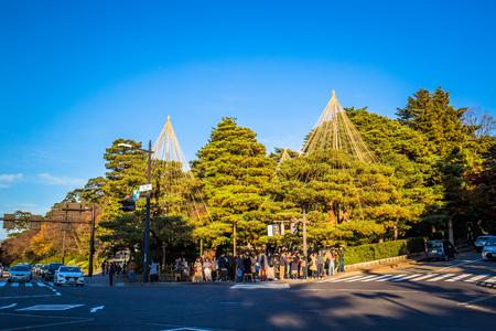 Kanazawa, Japan - November 24, 2018: Kenrokuen in Kanazawa is one of Japans three most beautiful landscape gardens. 에디토리얼