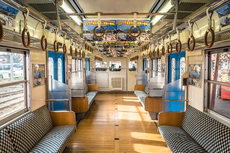 Fujikawaguchiko, Japan - November 26, 2018: Interior of the old classic Japanese railway train.