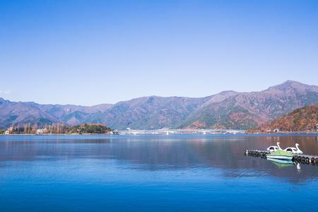 Beautiful landscape around lake kawaguchiko in autumn season at Yamanashi, Japan.