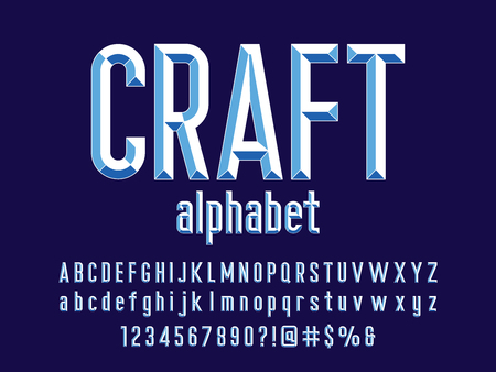 Chisel style alphabet design with uppercase, lowercase, number and symbols Vetores