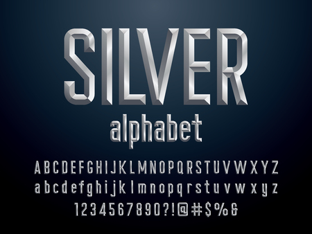 Chisel style silver alphabet design with uppercase, lowercase, number and symbols