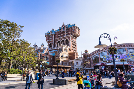 Tokyo, Japan - November 29, 2018: Tower of Terror is quite possibly DisneySea's most exciting attraction. Редакционное