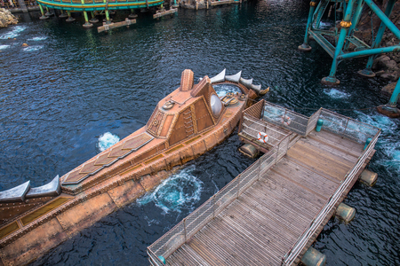Tokyo, Japan - November 29, 2018: Captain Nemos Nautilus harbored in Mysterious Island