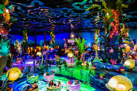 Tokyo, Japan - November 29, 2018: A colourful underwater themed inside the Mermaid Lagoon and most of the attractions in Mermaid Lagoon are designed for kids at Tokyo DisneySea.