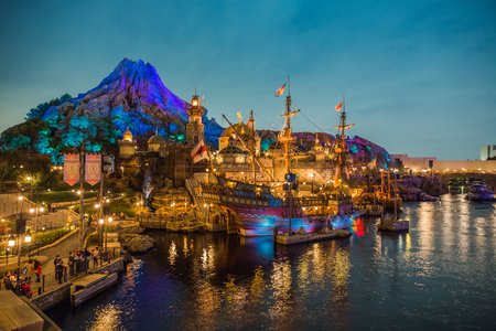 Tokyo, Japan - November 29, 2018: Fortress Explorations is an exquisitely-themed interactive play area at Mediterranean Harbor, Tokyo DisneySea.