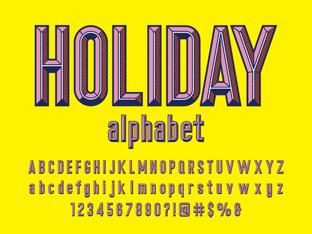 holiday Chisel style alphabet design with uppercase, lowercase, number and symbols Illustration