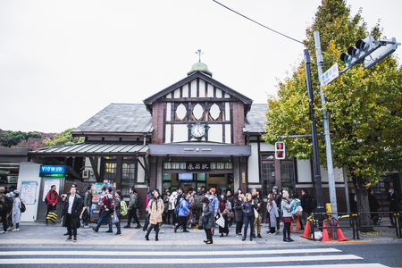 Tokyo, Japan - December 2, 2018: Harajuku Train station, old style building located in Harajuku area Tokyo Japan.