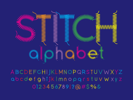 Stitched alphabet design with thread, embroidery letters with uppercase, lowercase, numbers and symbol
