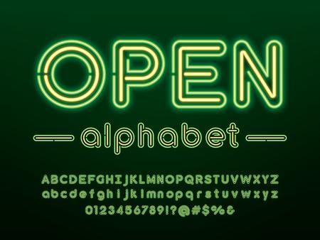 Świecący neonowy projekt alfabetu z wielkimi, małymi literami, cyframi i symbolem