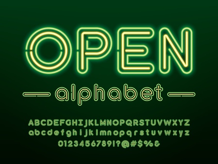 Gloeiend neonlicht alfabetontwerp met hoofdletters, kleine letters, cijfers en symbool