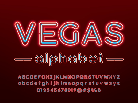 Glowing neon light alphabet design with uppercase, lowercase, numbers and symbol Ilustrace