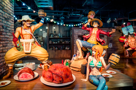 Tokyo, Japan - December 3, 2018: One piece manga character statue of fiberglass mascot in human size set up to display at Tokyo Onepiece Tower.