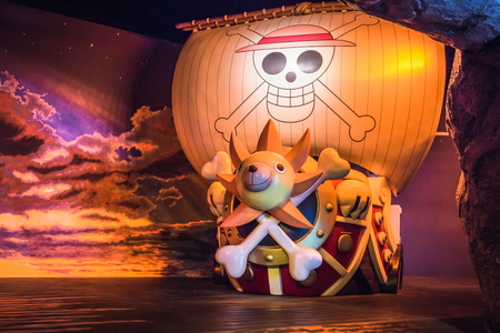 Tokyo, Japan - December 3, 2018: A smaller scale of Thousand Sunny pirate ship model at Tokyo Onepiece Tower 報道画像