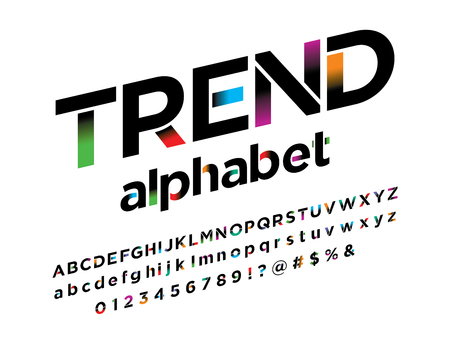 Vector of stylized modern vibrant color alphabet design Ilustrace