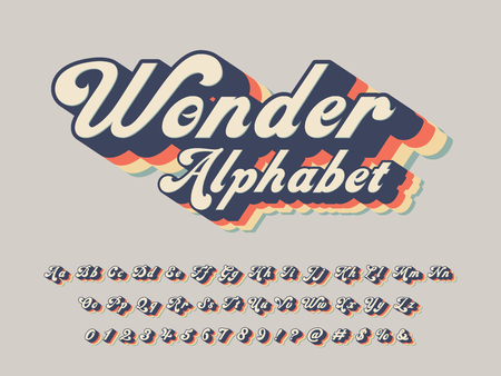 Vector of groovy hippie style alphabet design Ilustrace