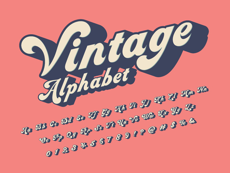 Vector of groovy hippie style alphabet design  イラスト・ベクター素材