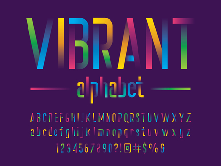Modern gradient alphabet design with uppercase, lowercase, numbers and symbol