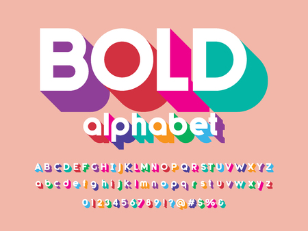 Vector of stylized modern colorful alphabet design