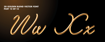 3D gradient golden blend vector alphabet design Ilustrace