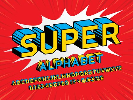 Superhero Comic Style Vector Font with uppercase, numbers and symbols Vectores
