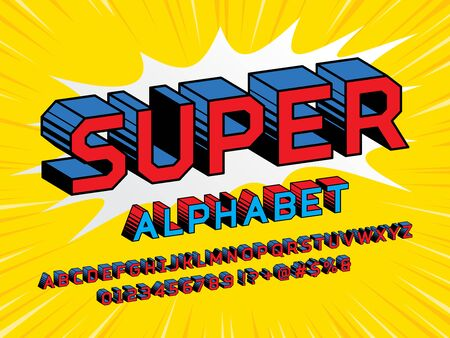 Superhero Comic Style Vector Font with uppercase, numbers and symbols Illustration