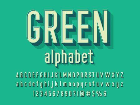 Vector of modern alphabet design with uppercase, lowercase, numbers and symbols Ilustração Vetorial