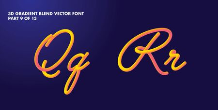 3D gradient colorful blend vector alphabet design Çizim