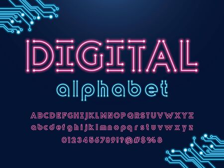 digital text Vector of circuit board neon light alphabet design Illustration