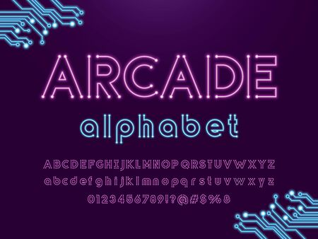 arcade text Vector of circuit board neon light alphabet design Illustration