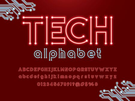 tech text Vector of circuit board neon light alphabet design Illustration
