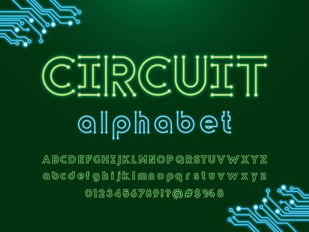 circuit text Vector of circuit board neon light alphabet design