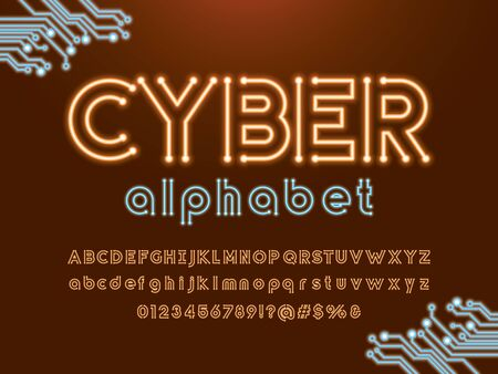 cyber text Vector of circuit board neon light alphabet design Illustration