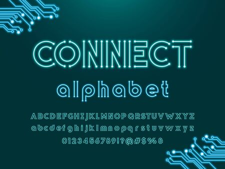 connect text Vector of circuit board neon light alphabet design